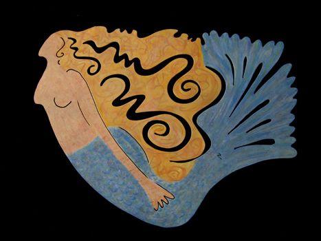 Mermaid Painted Steel Copy Sculpture By Charlotte Zink At