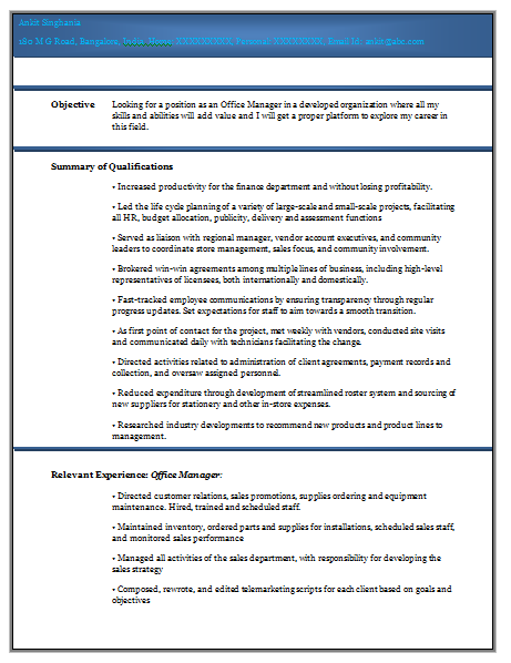 Experienced Resume Format Doc   Career    Resume Format