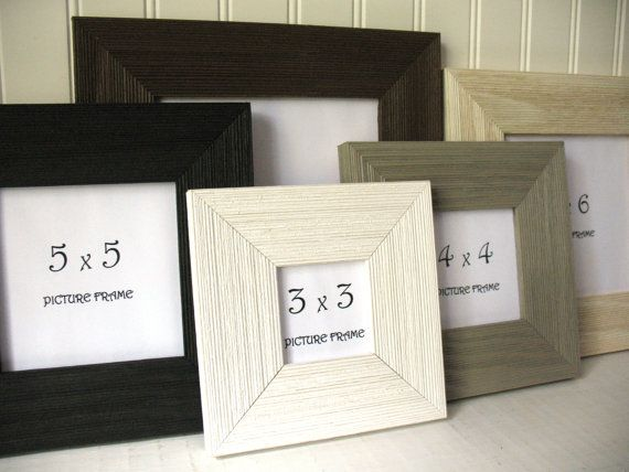 SQUARE BARNWOOD Frame 3x3 4X4 5x5 6x6 7x7 Rustic Black White Brown ...