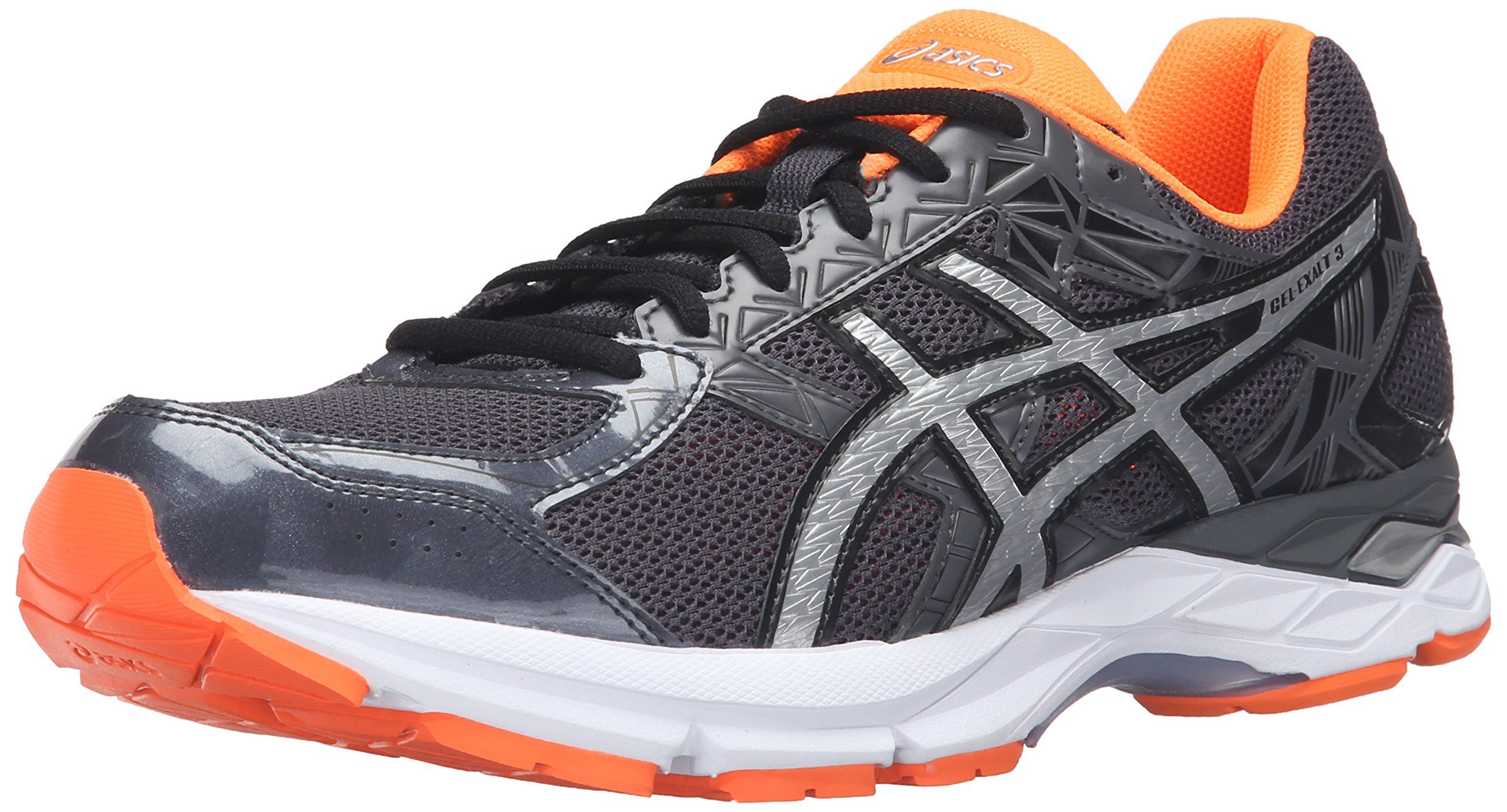 ASICS Men's Gel-Exalt 3 Running Shoe, Dark Grey/Silver/Hot Orange, 8 M US.  Lace-up running shoe featuring breathable mesh upper with supportive  synthetic ...