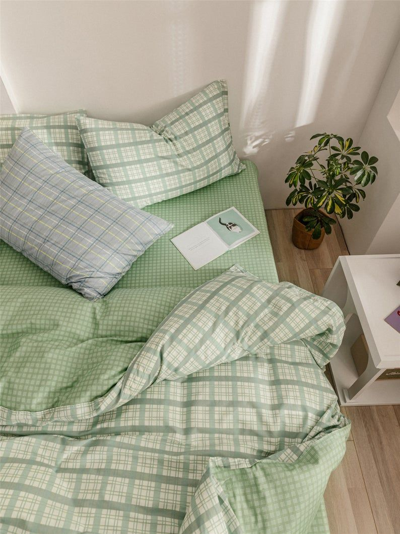 Mint Green Lattice Duvet Cover Set 100% Cotton Com