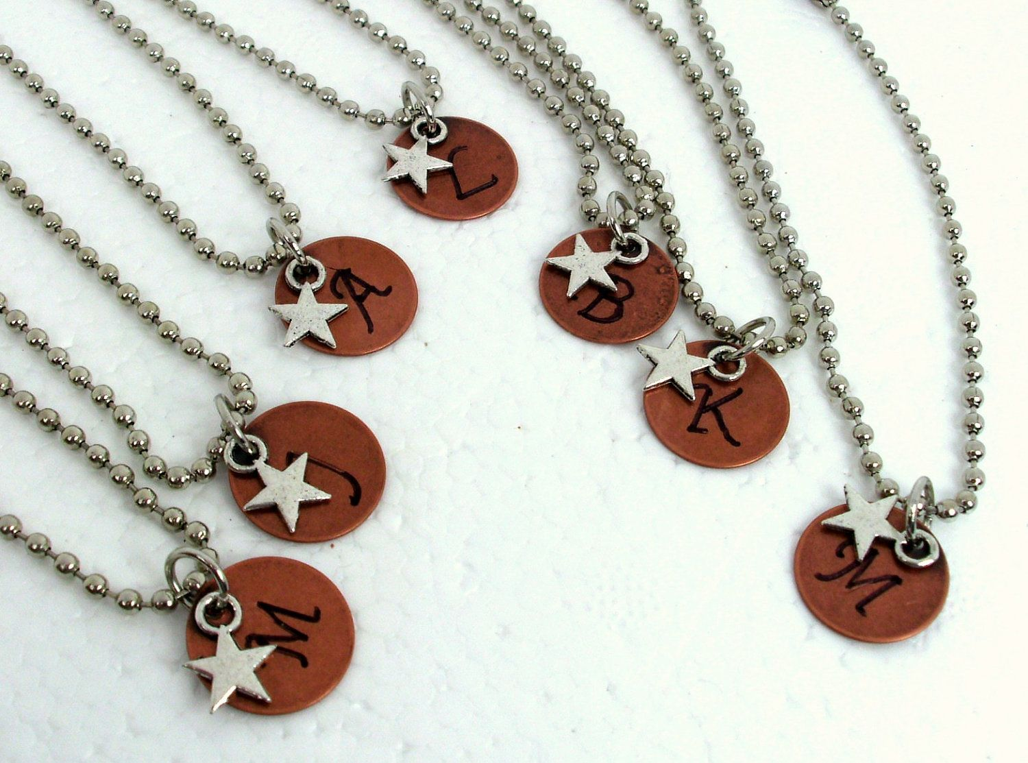 Rustic Wedding Jewelry, Bridesmaid Set, Personalized Copper Initial Bracelet or Necklace Set, Silver Star Necklace, Hand Stamped Jewelry. $90.00, via Etsy. @ my friends who are brides to be or country!