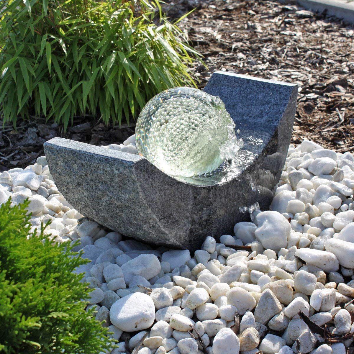 Granit Springbrunnen Sb15 Mit Drehender Glaskugel Und Led Beleuchtung Gartenbrunnen Kugelbrunnen Amazon De Garten Gartenbrunnen Springbrunnen Led Beleuchtung