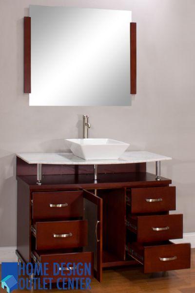Alya Bw 700 42 C Cw 42 Cherry Single Modern Bathroom Vanity Carrara White Top Bathroom Vanity Modern Bathroom Vanity Modern Bathroom
