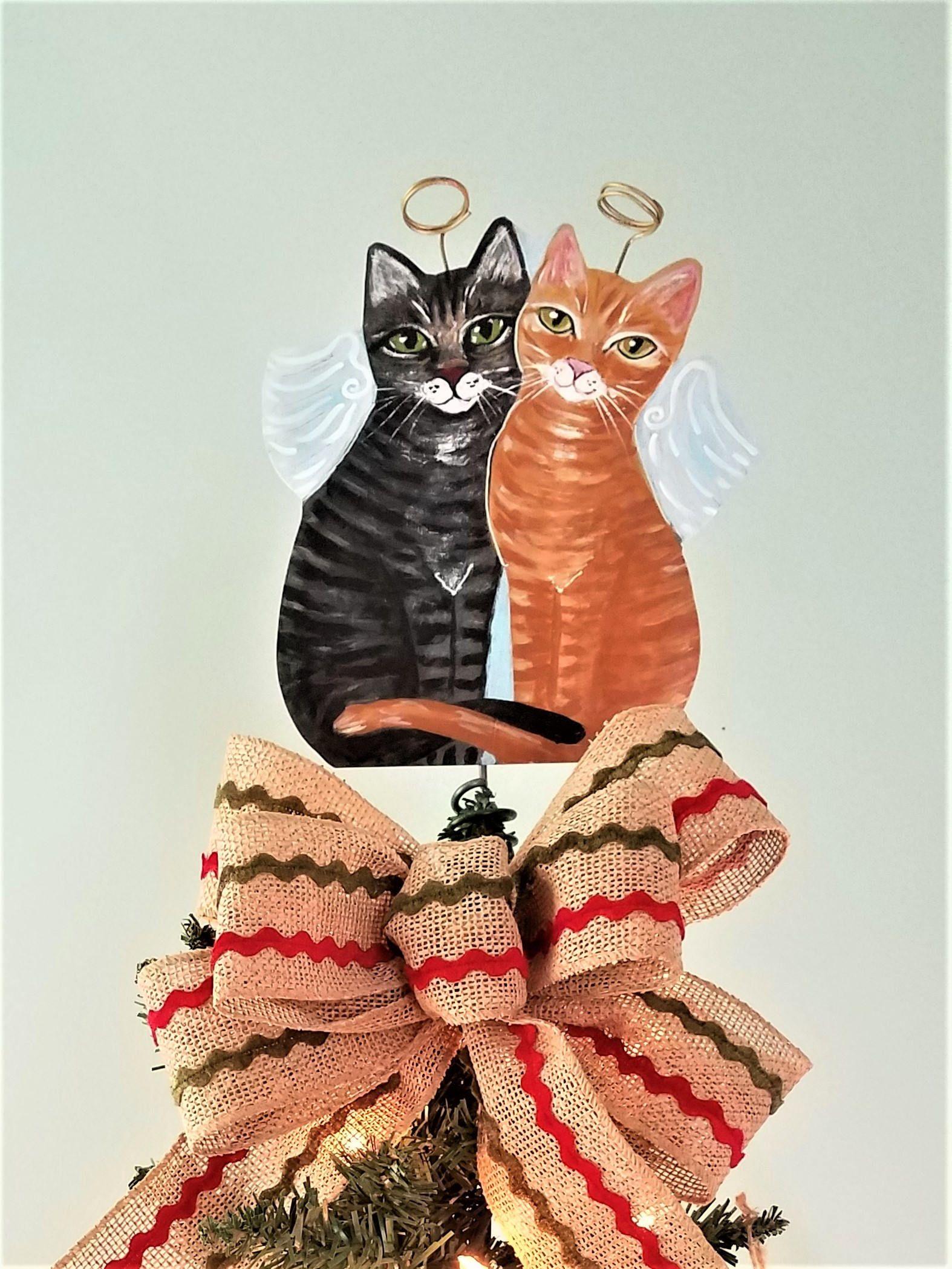 Tabby Cat Tree Topper, Cat Christmas Tree Topper, Cat