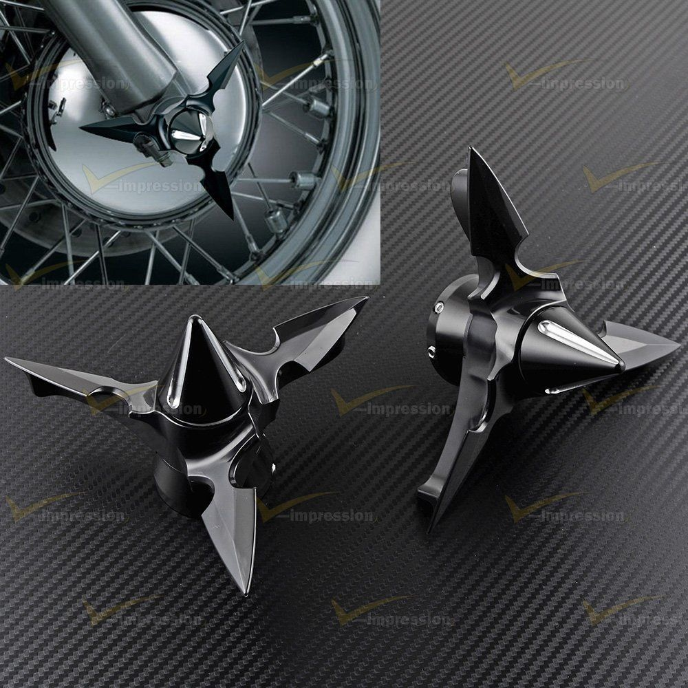 Spun Blade Spinning Front Axle Cap Nut Covers For Harley Touring Sportster Dyna