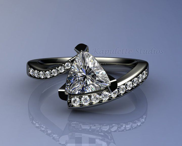 6a6c275eeb2f Custom bi-pass trillion engagement ring with channel-set side stones. Set  in 14k white gold. Starting at  2900 www.kjohnsonjewelry.com