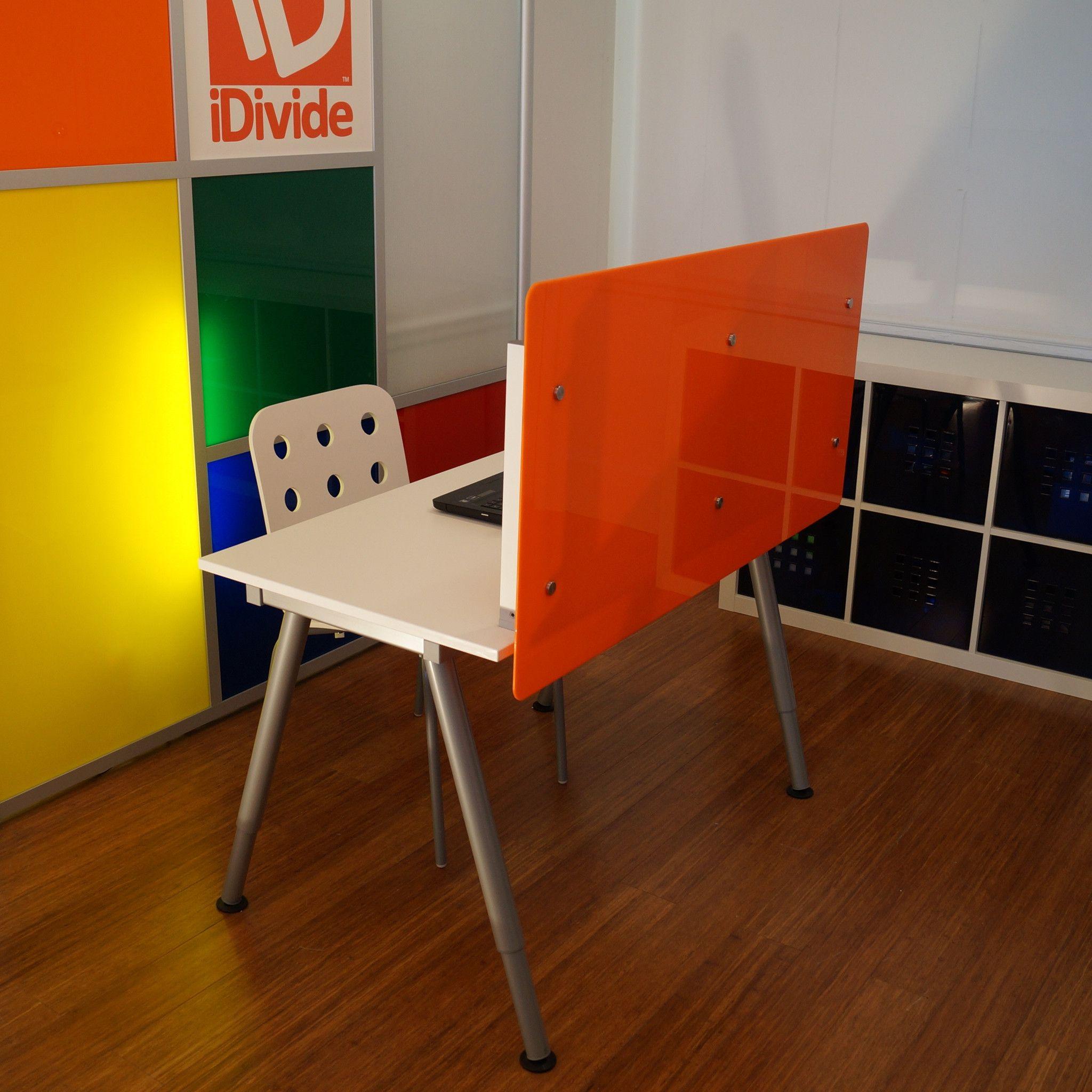 desk divider  wide x  high desktop divider privacy screen  - desk divider  desktop privacy screen panel translucent orange panel deskdivider panel size