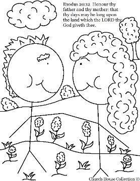 Honor Thy Father And Thy Mother Coloring Page Exodus For Ten