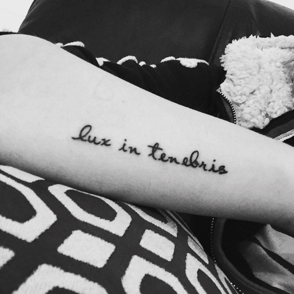 """New tattoo I got today; """"lux in tenebris"""" - Latin for """"light in darkness""""   This is so meaningful to me, I'm so happy.  #tattoo"""