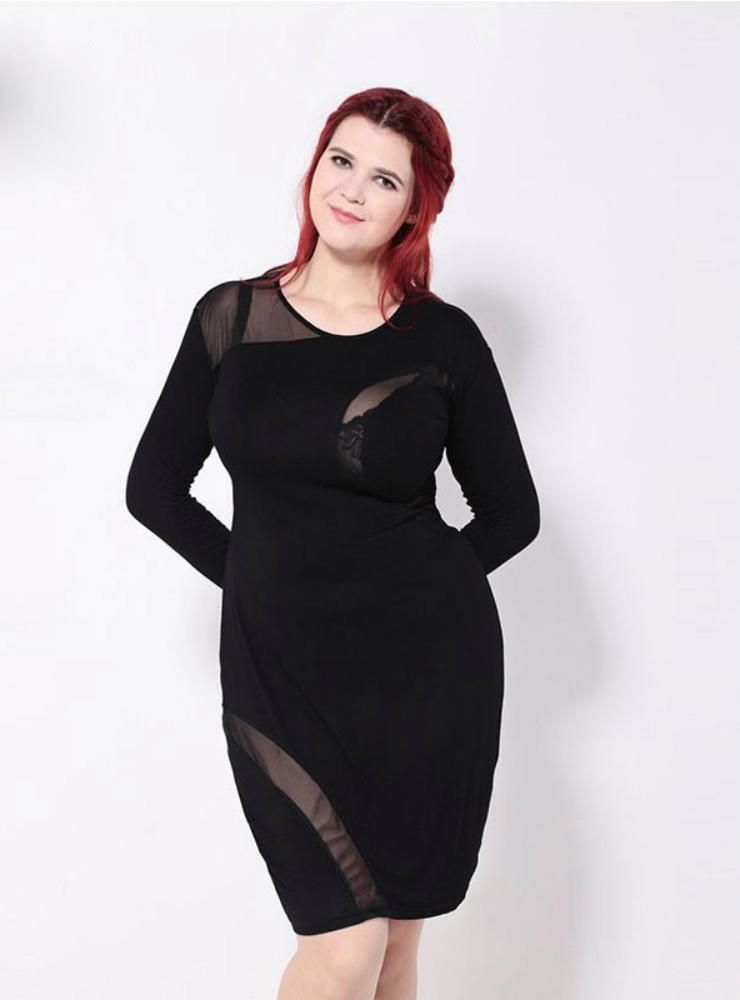 8d6e5ffe13e7 Mesh Patchwork Sheer Long Sleeve Slim Dress | prom dresses | Trendy ...