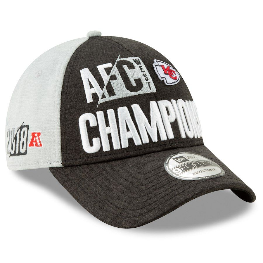 Men s Kansas City Chiefs New Era Heather Charcoal 2018 AFC West Division  Champions Locker Room 207838543