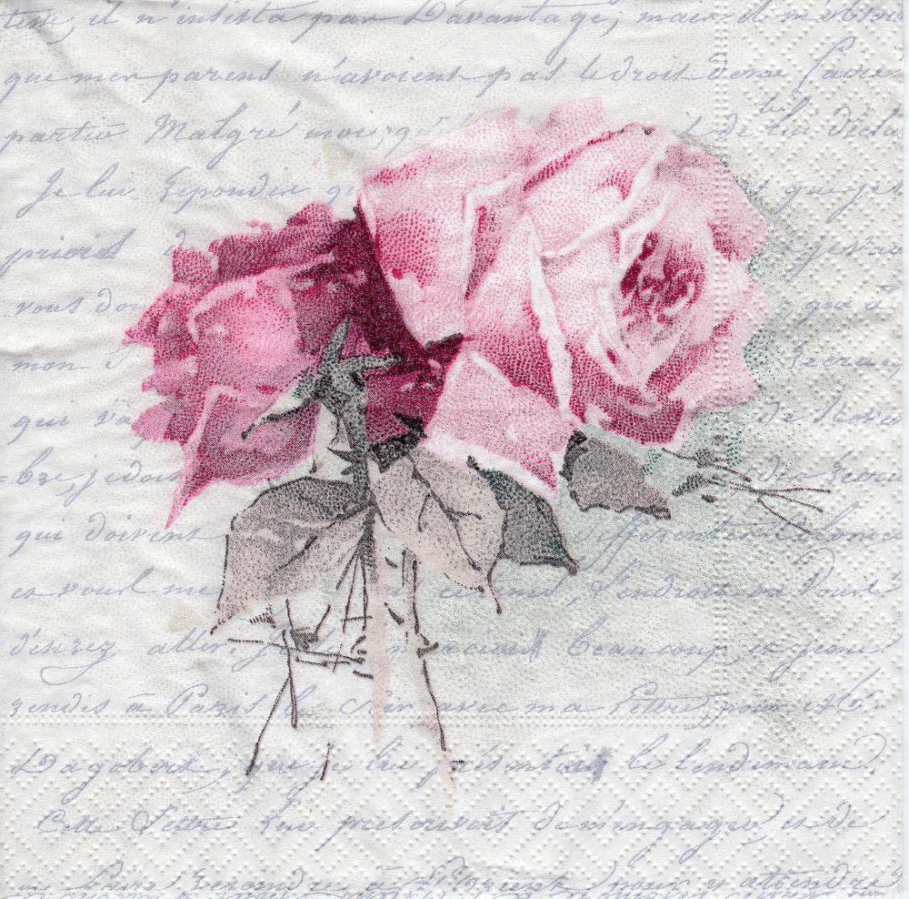 4x Paper Napkins for Decoupage Craft Sagen Pink Roses Mix