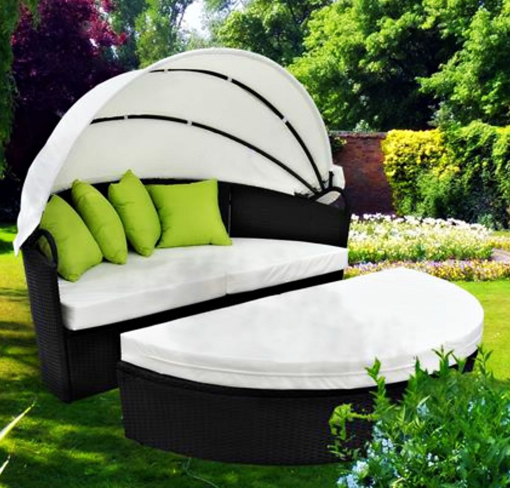 Garden Rattan Daybed Patio Sun Lounger Wicker Deck Seat Canopy Cushion  Pillows
