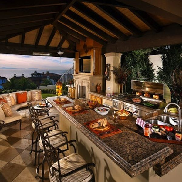 Awesome Outdoor Kitchens With Bars Covered Outdoor Kitchens