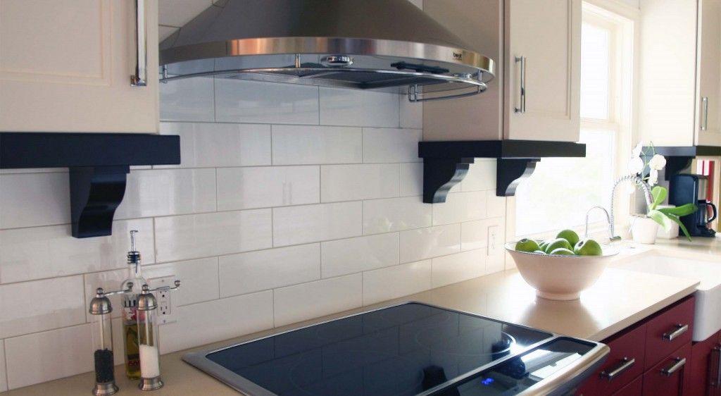 simple, affordable, tile back splash in kitchen