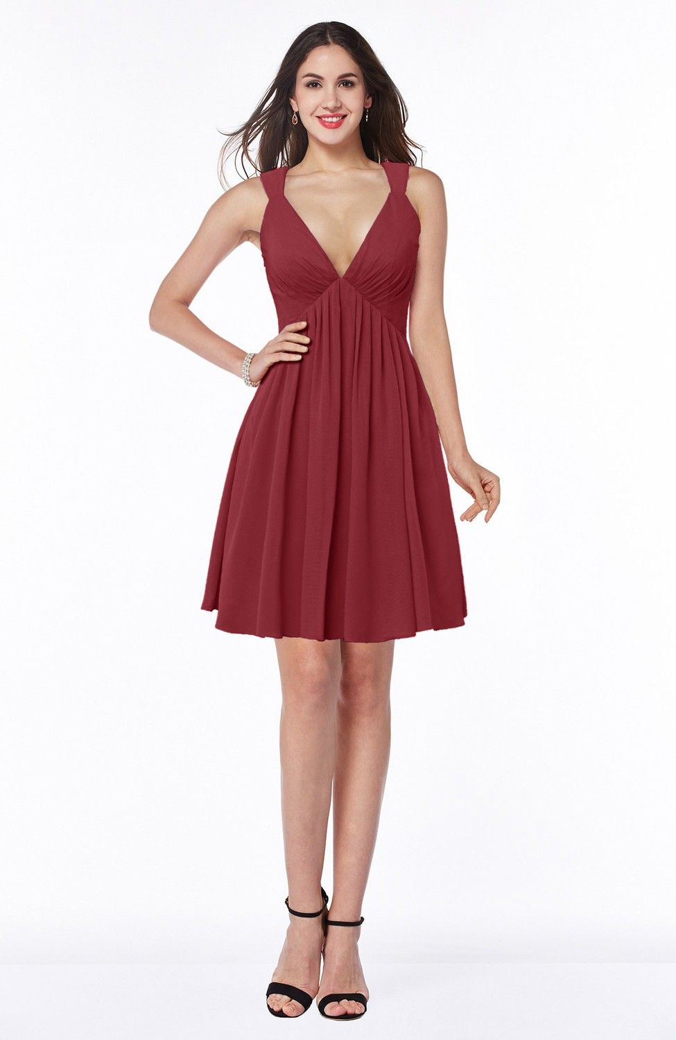 Dark red bridesmaid dress sexy aline sleeveless short pleated
