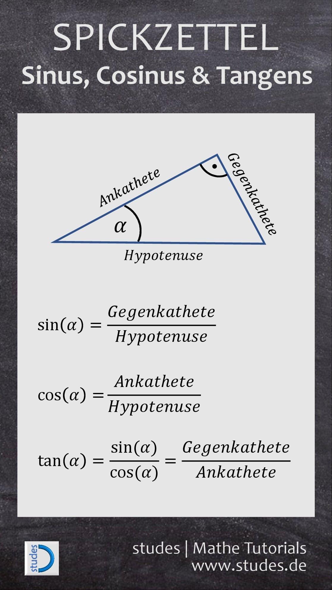 Sinus-Cosinus-Tangens | Mathe Spicker | Pinterest | Mathe, Schule ...