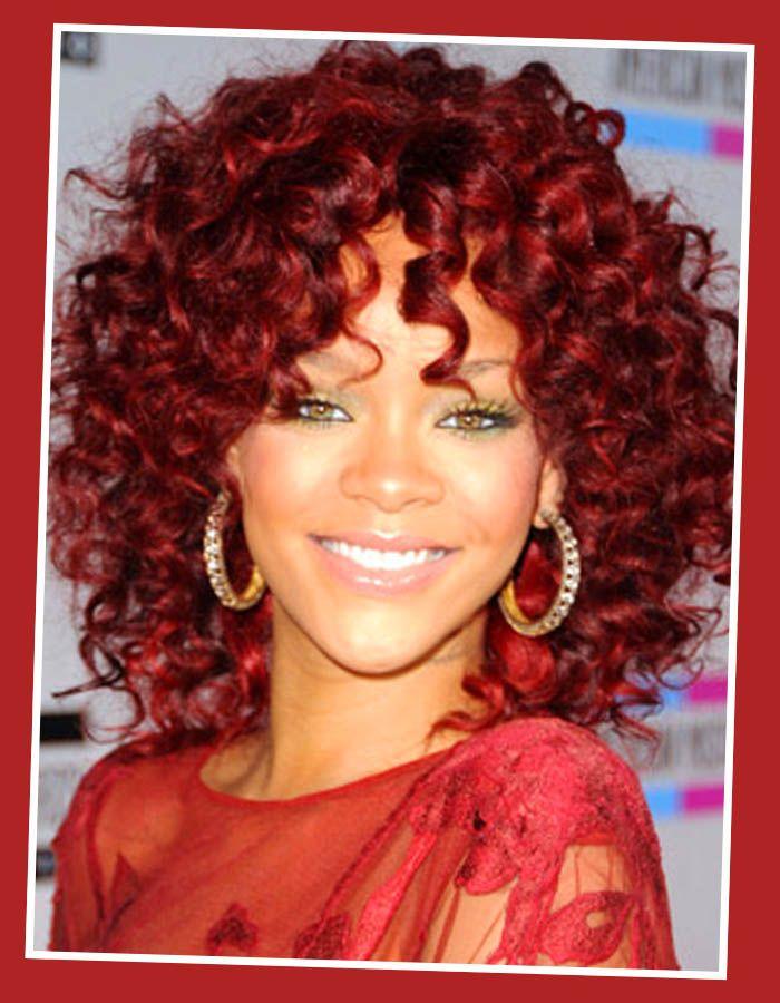 red hair rihanna red curly hair medium hairstyle deep