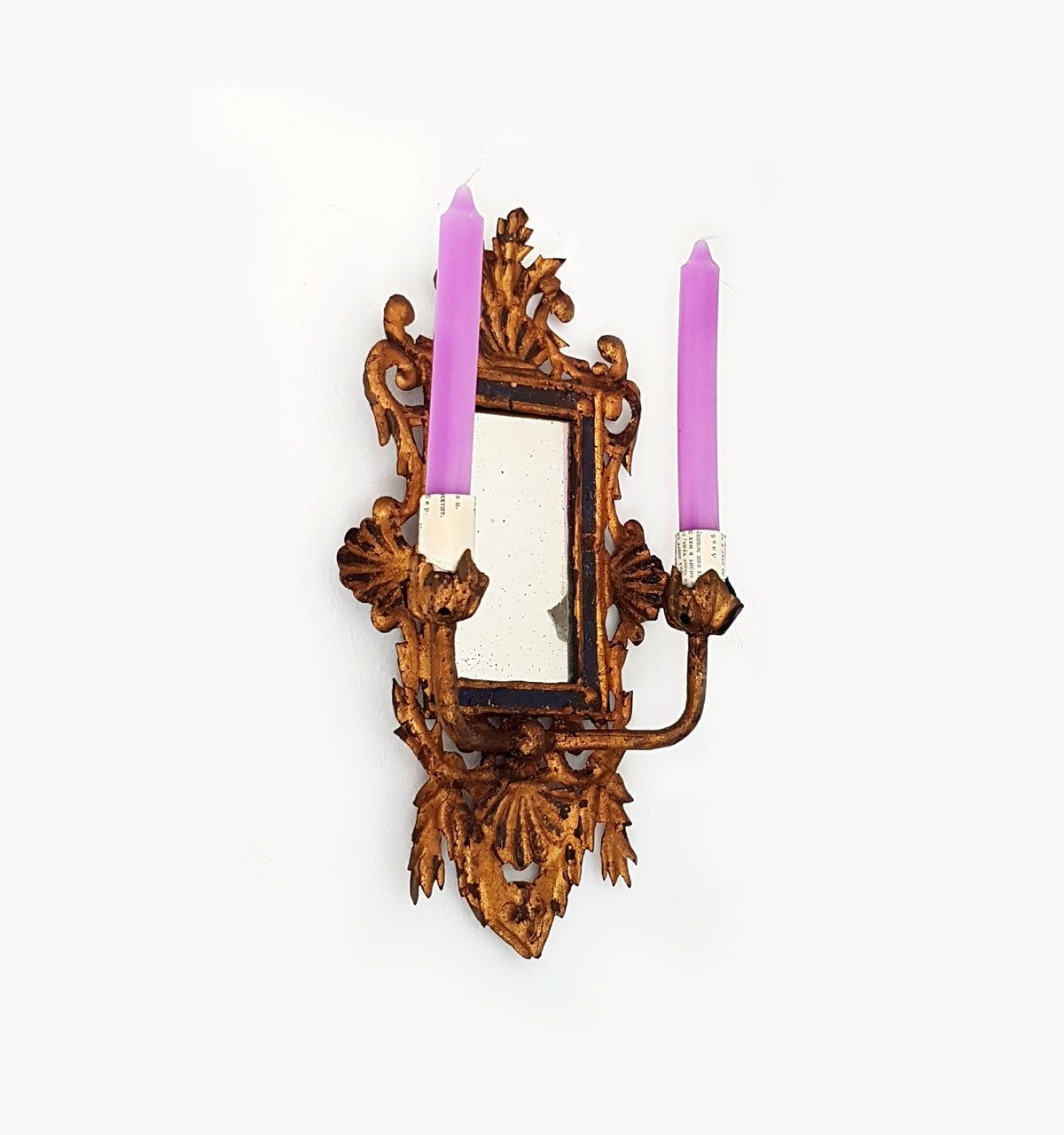 Antique Italian Mirror with Candle Holders , Wall Sconce ... on Antique Style Candle Holder Sconces id=65921