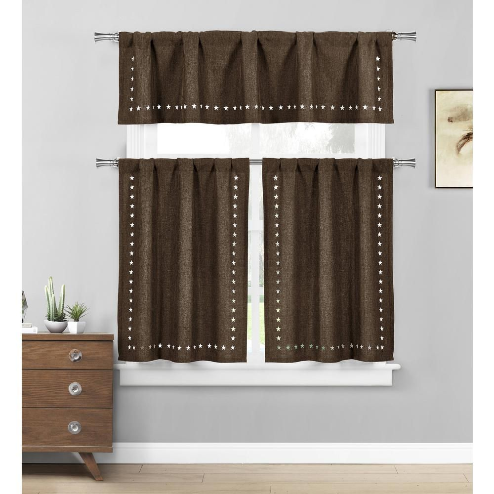 Home Maison Conor Stars Chocolate Kitchen Curtain Set 58 In W X