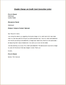 Double Charge On Credit Card Correction Letter Download At Http