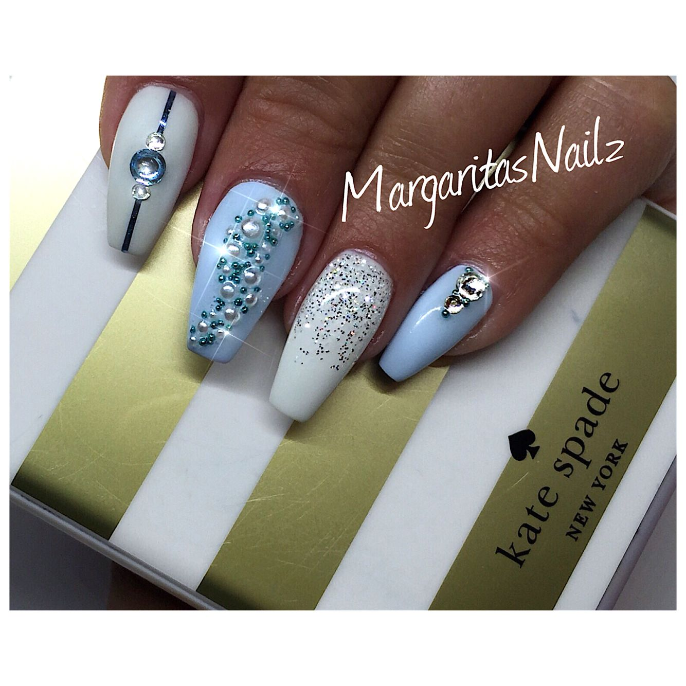 Pastel blue and white ballerina nails   Nails   Pinterest