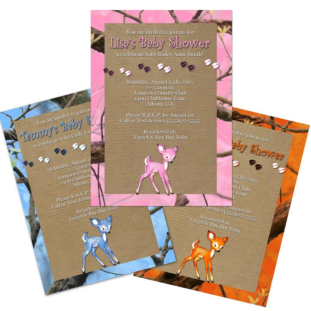 Custom fawn camo baby shower invitations 12 count camo baby blue orange pink camo baby shower invitation filmwisefo