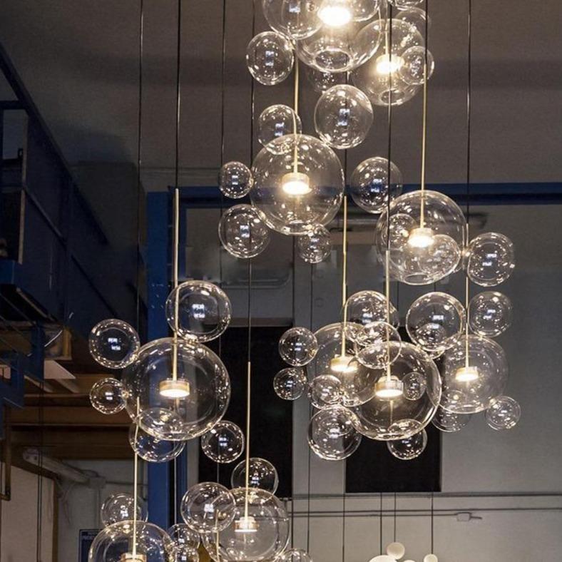 Pendant Lighting Hanging Lamp, Glass Bubble Chandelier Lighting