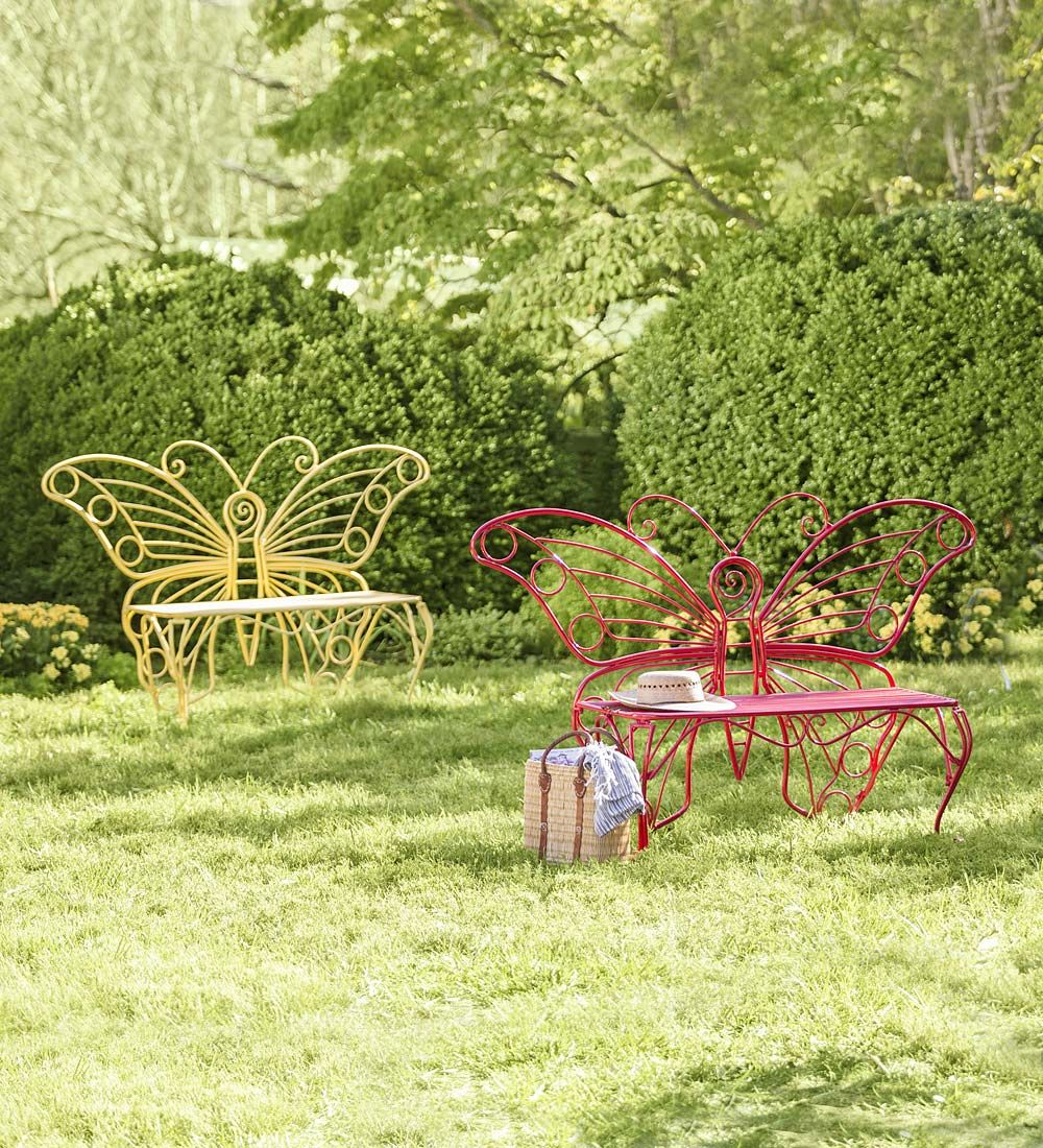 Colorful Metal Butterfly Garden Bench Benches Butterfly Bench