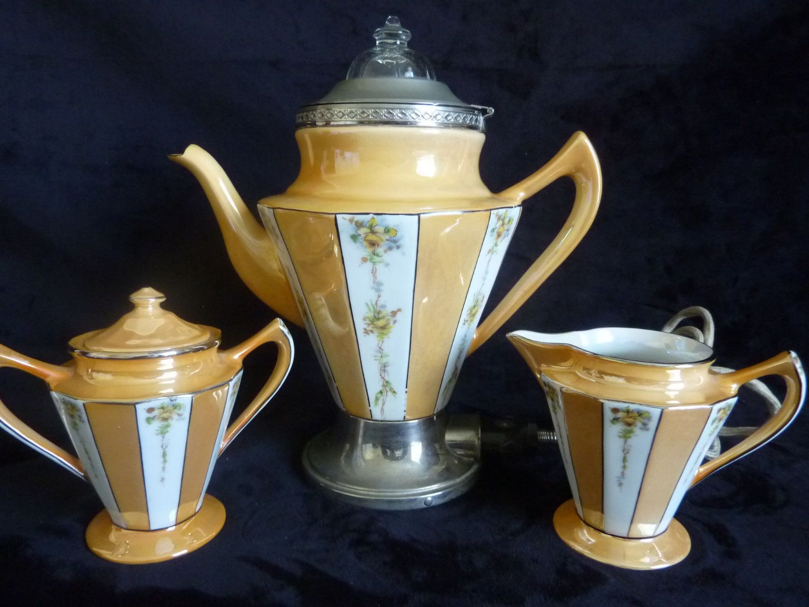 1920s Royal Rochester Hand Decorated Porcelain Electric
