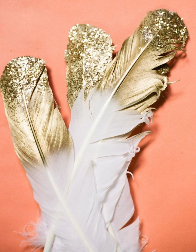 Add Some Sparkle To Your Home Decor With These DIY Gold Dipped Glitter  Feathers.