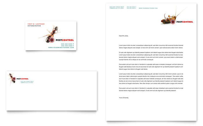 Pest Control Services - Business Card \ Letterhead Template Design - business letter head format