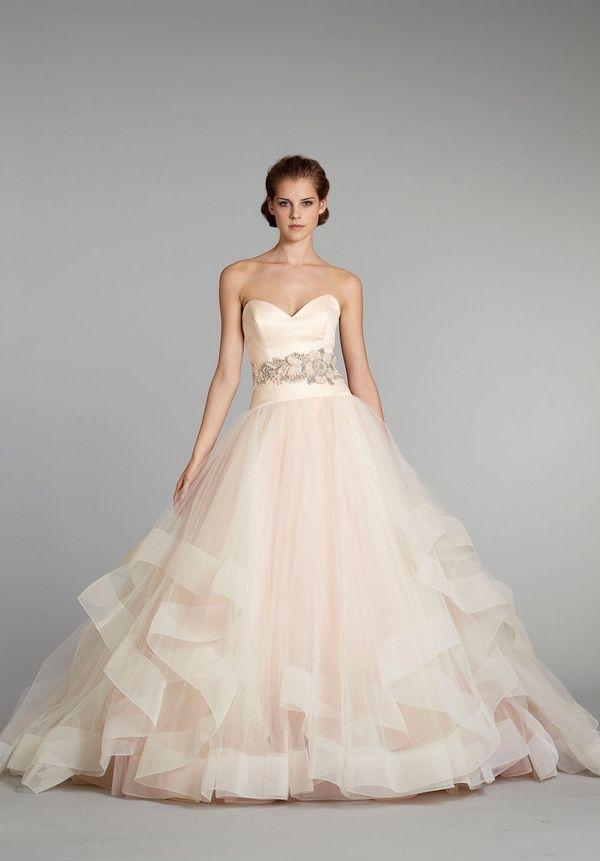 Blush Champagne Wedding Dress With Structured Bottom Trim Wedding