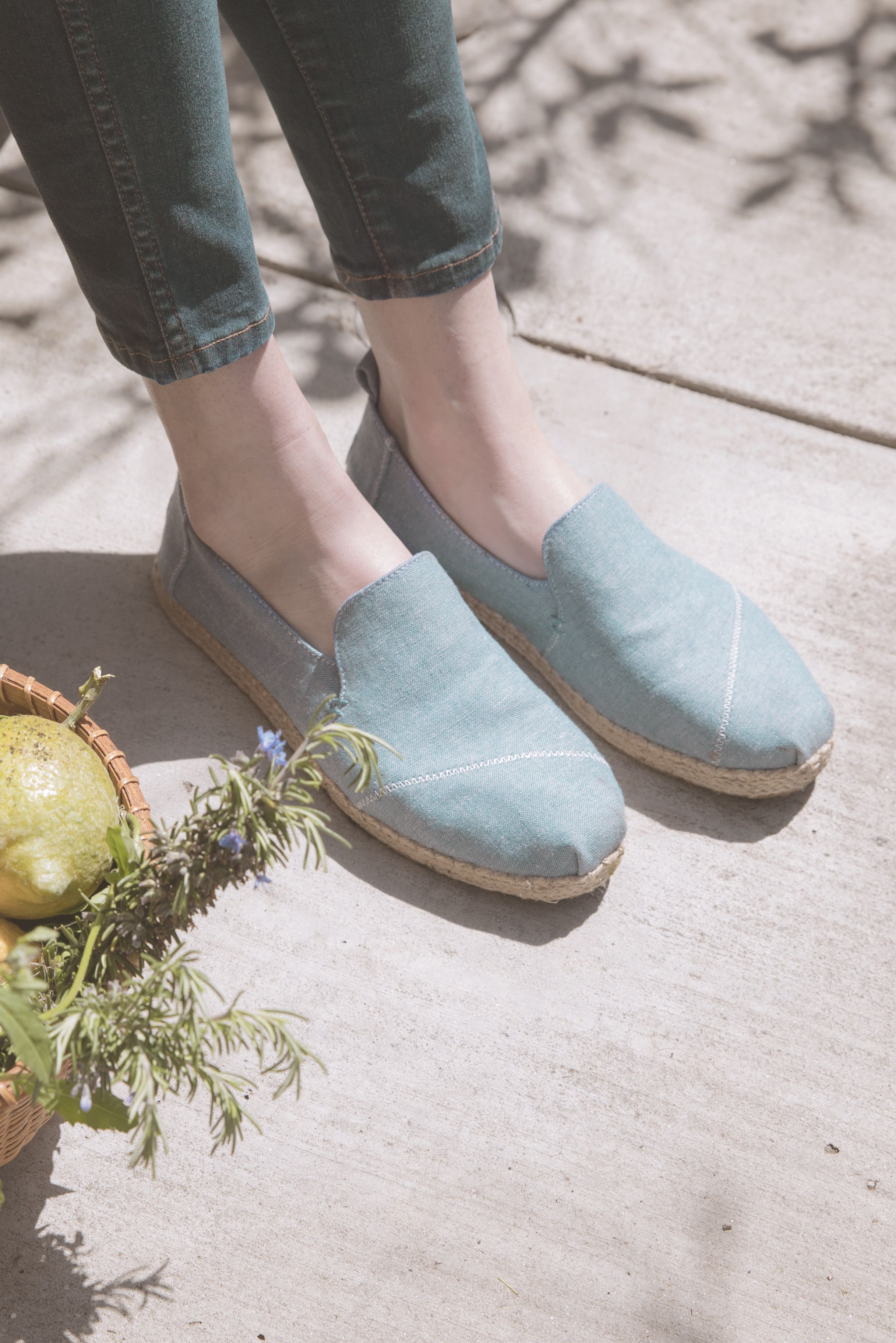 b15eabdb41d Chef Ella Freyinger goes from farm to table in her Chambray TOMS  Deconstructed Alpargatas.