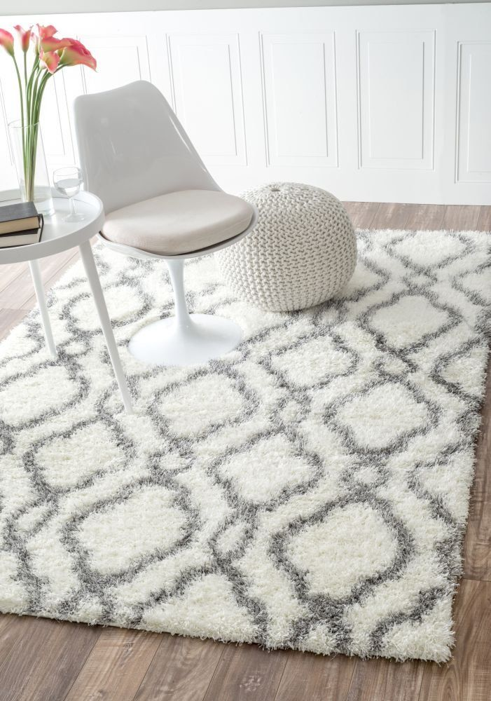 moroccan trellis soft and plush white shag rug 5 feet 3 inches by 7 feet 6 inches x