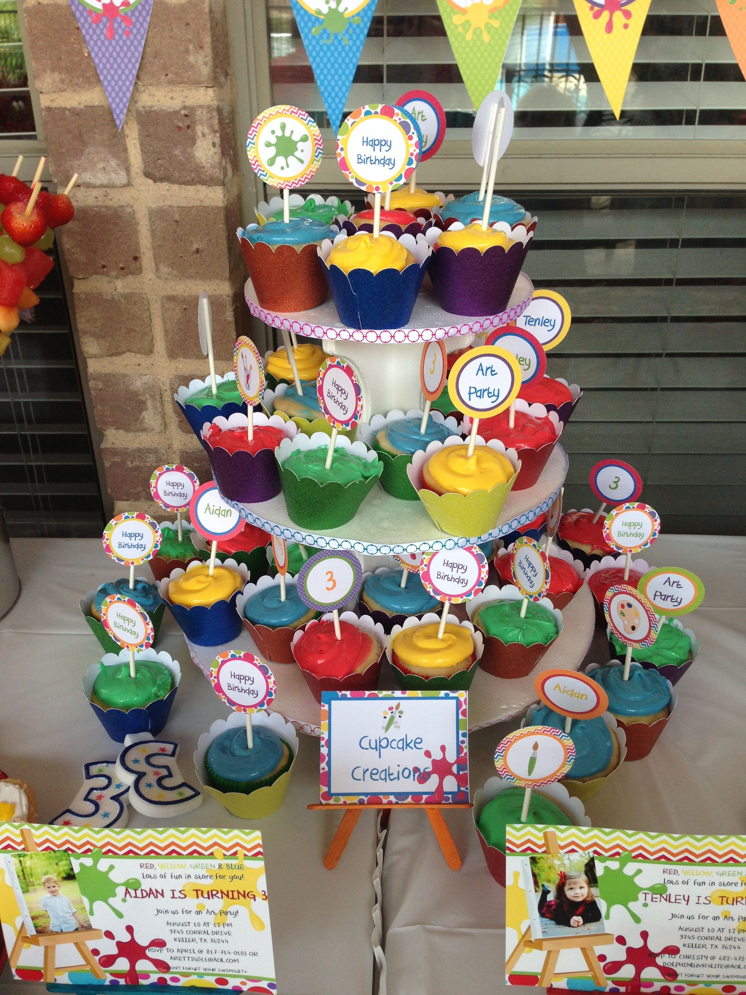Art party cupcake toppers 3rd birthday party Pinterest Art