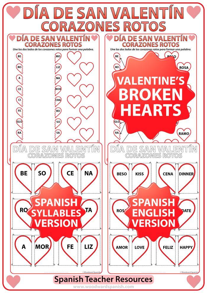 Spanish Valentine\'s Day Worksheet and Flash Cards - Broken Hearts ...