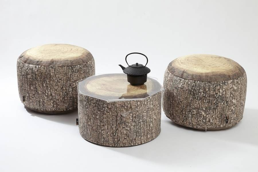Forest stump pouf table home decor floor cushions