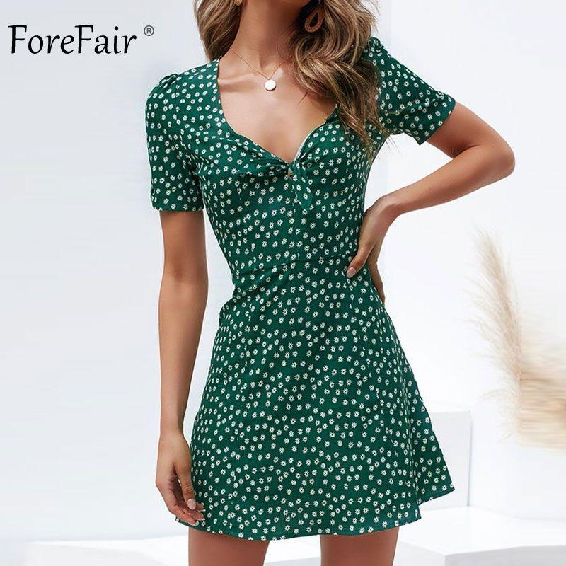 adc1c8472e0 Forefair Retro Bohemian Beach Dress Women Summer 2019 in 2019