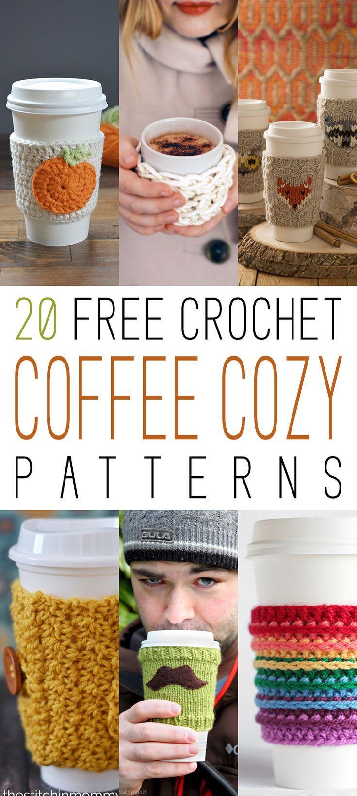 20 Free Crochet Coffee Cozy Patterns | Tejido, Taza termo y Vasos
