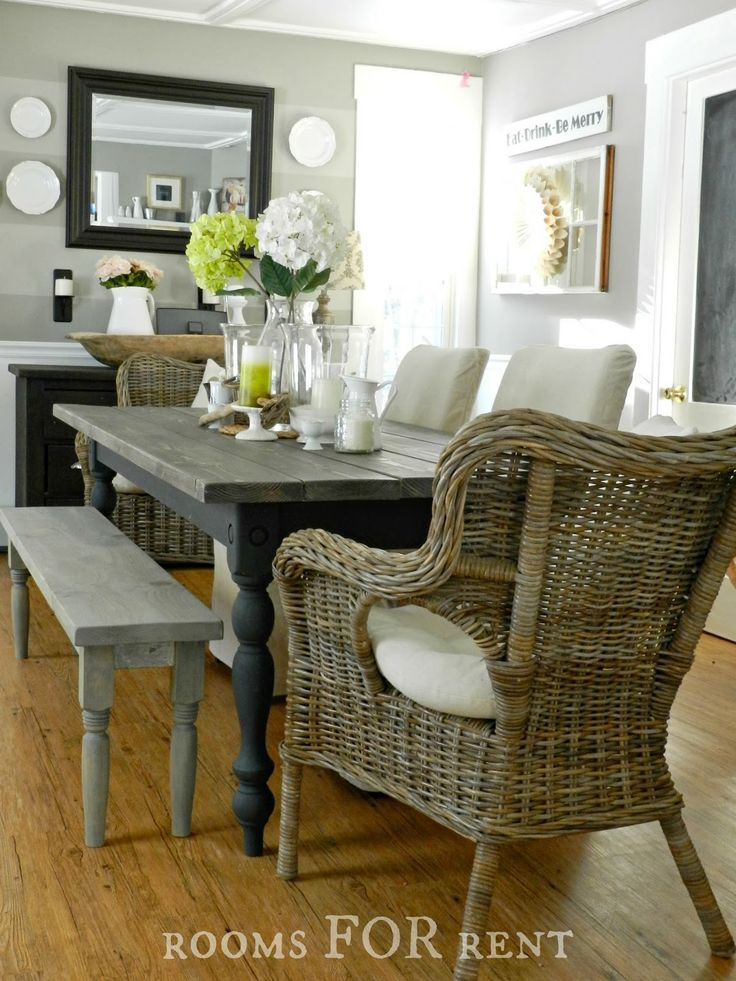 Rooms For Rent~ Our New Farmhouse Dining Table  Decor Dining Interesting Dining Room Table Bench Seat Decorating Inspiration