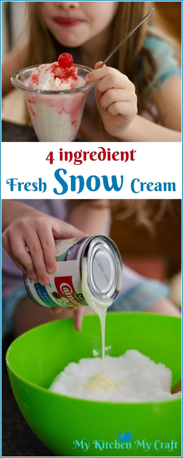 Fresh Snow Cream: The BEST snow day treat other than HOT Chocolate! #snowicecreamrecipe