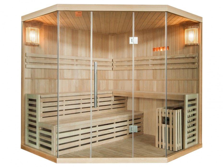 Sauna Traditionnel Finlandais du0027angle 4 5 places vitré Gamme - faire un sauna maison