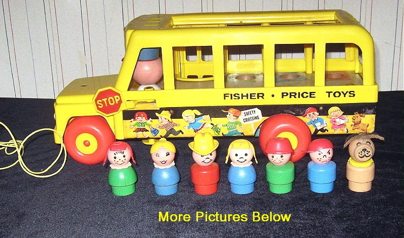 1969 Fisher Price School Bus With Swing Out Stop Sign Even