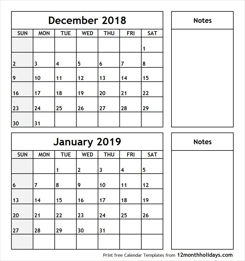 Printable Two Month Calendar December 2018 January 2019 ...