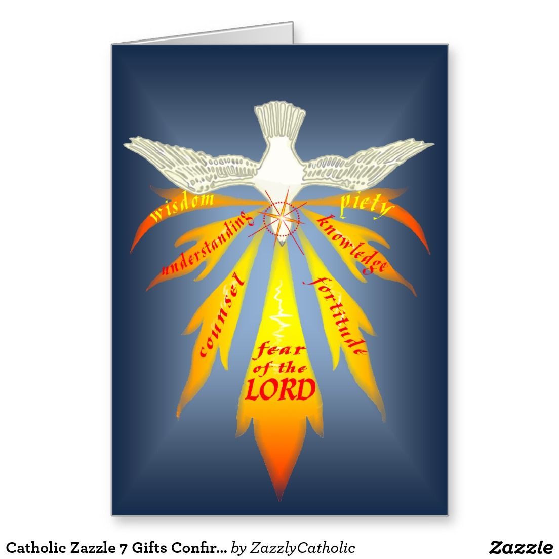 Catholic zazzle 7 gifts confirmation card confirmation