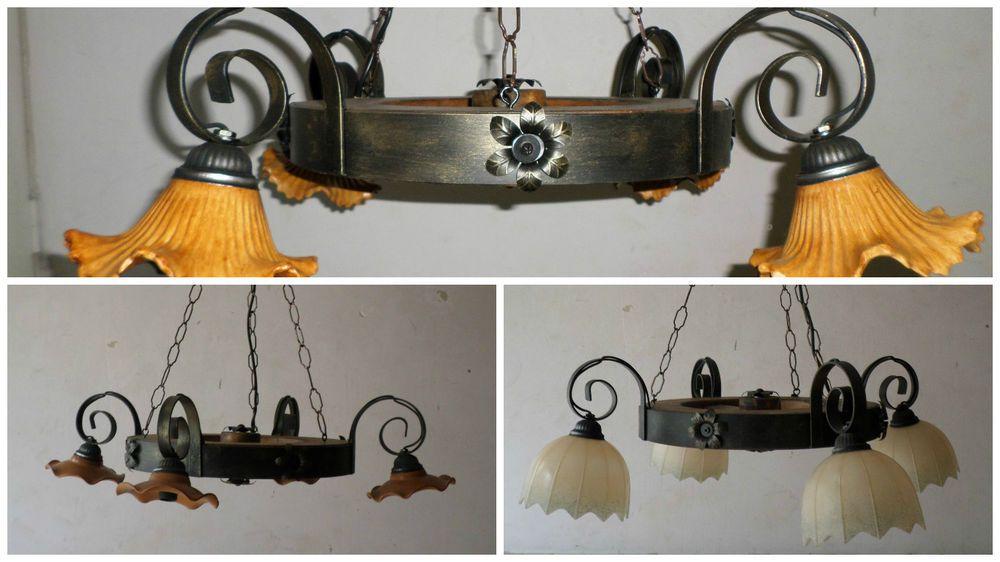 Lampadario Rustico In Ferro Battuto : Dettagli su lampadario rustico in ferro battuto e legno mod ruota