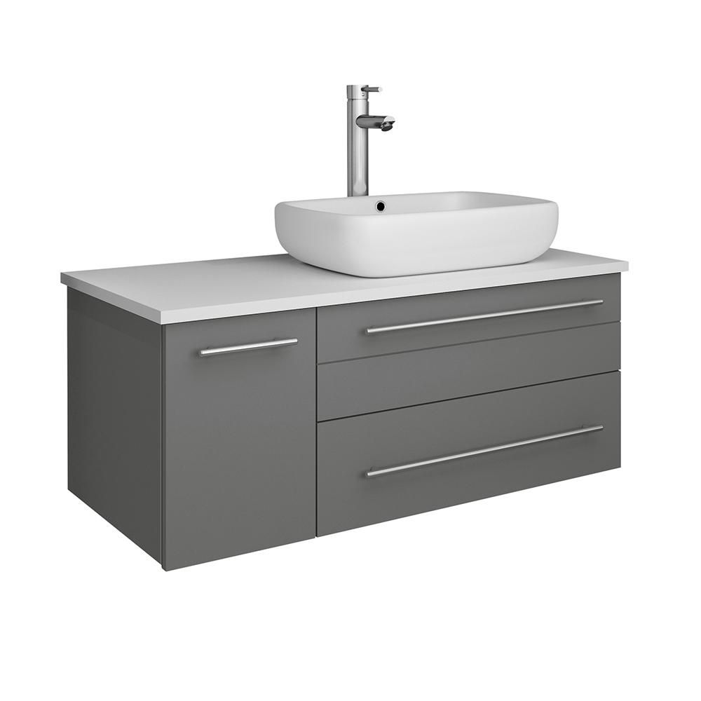 Fresca Lucera 36 In W Wall Hung Bath Vanity In Gray With Quartz