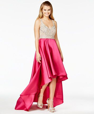 4e3fb52d9 Macy's Say Yes to the Prom hot pink/nude embellished high-low dress ...